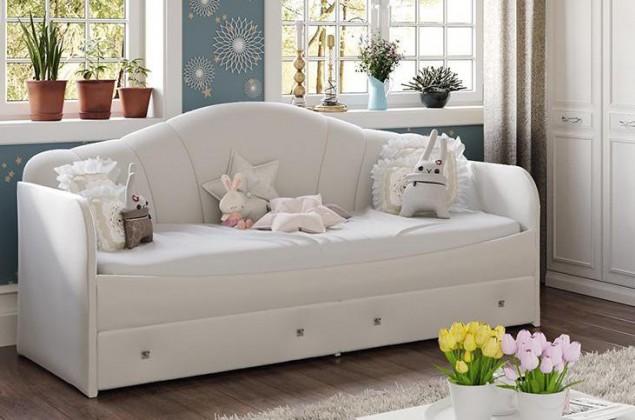 Кровать с мягкой спинкой и ящиками «Сабрина» (900)